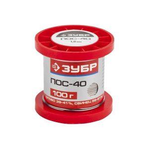 Припой ПОМ-3 (Sn97Cu3), специальный безсвинцовый ЗУБР, проволока, 50гр, 1мм